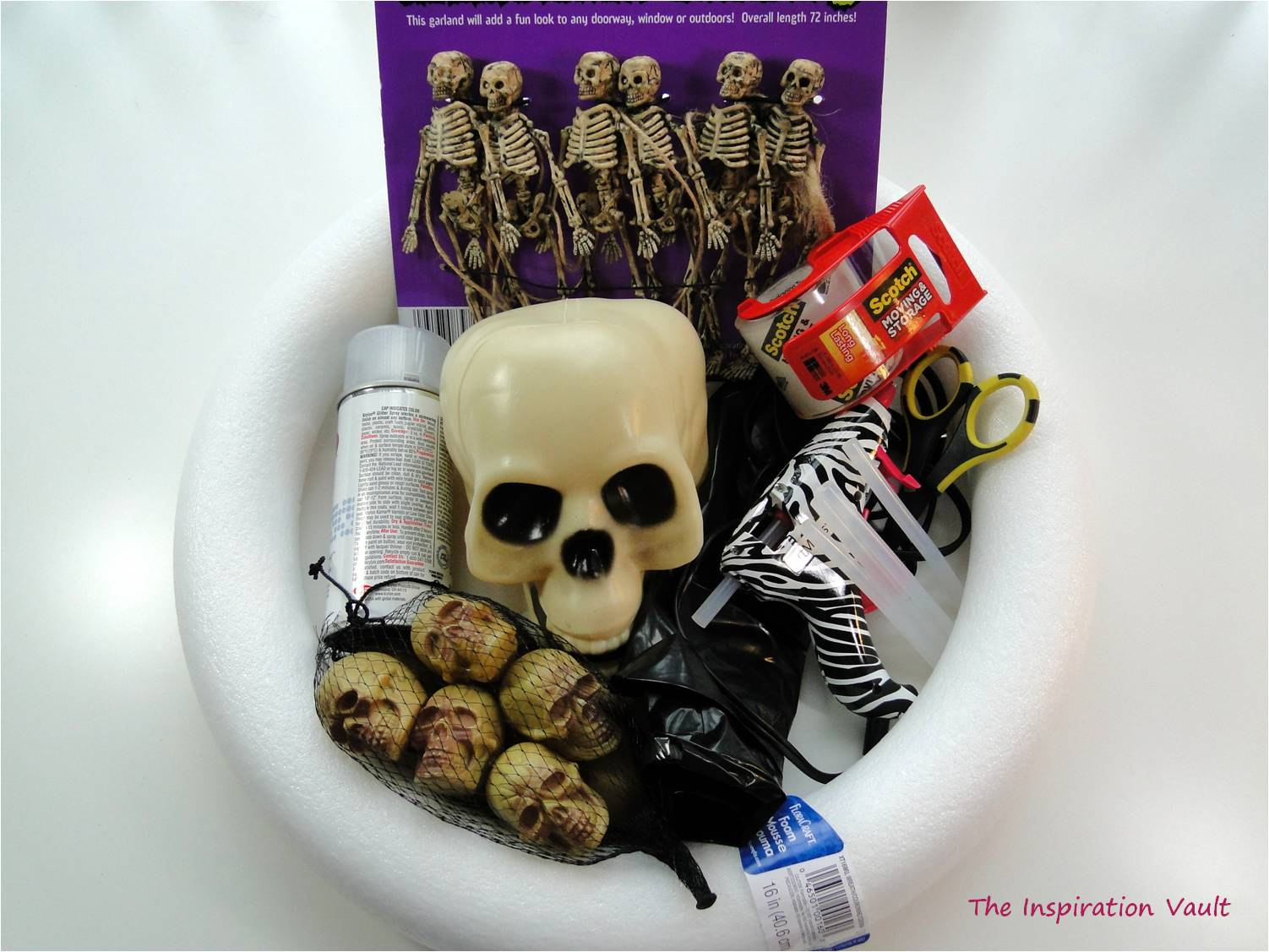 Spooky Skeleton Wreath Materials