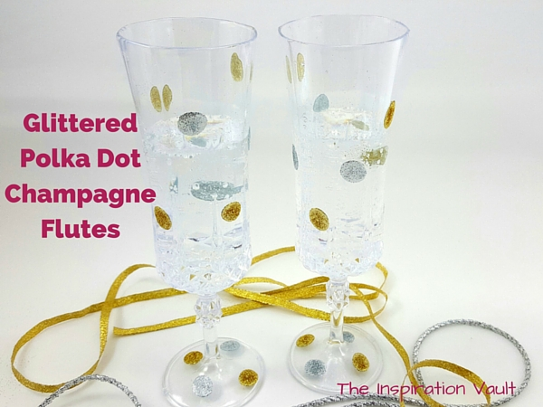 Glittered Polka Dot Champagne Flutes Feature