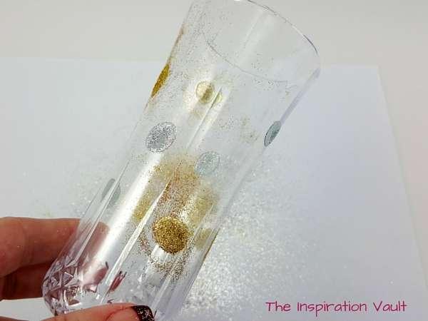Glittered Polka Dot Champagne Flutes Step 4