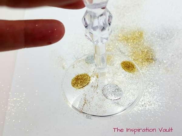 Glittered Polka Dot Champagne Flutes Step 5