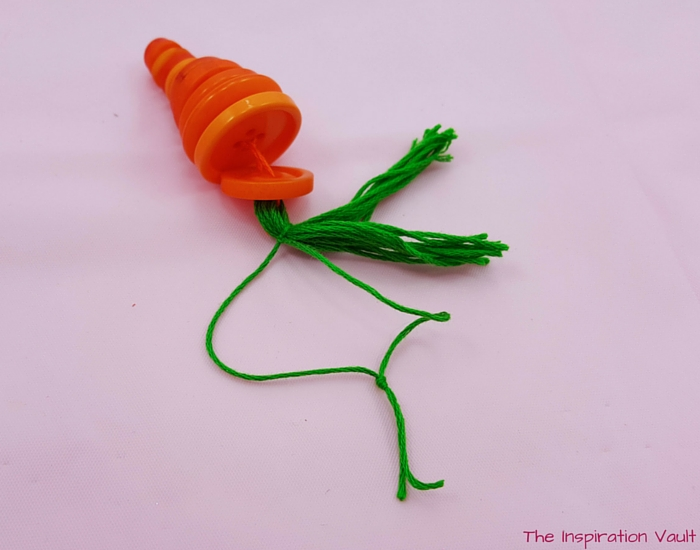 Button Carrot Easter Ornament Step 10b