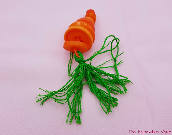 Button Carrot Easter Ornament Step 12