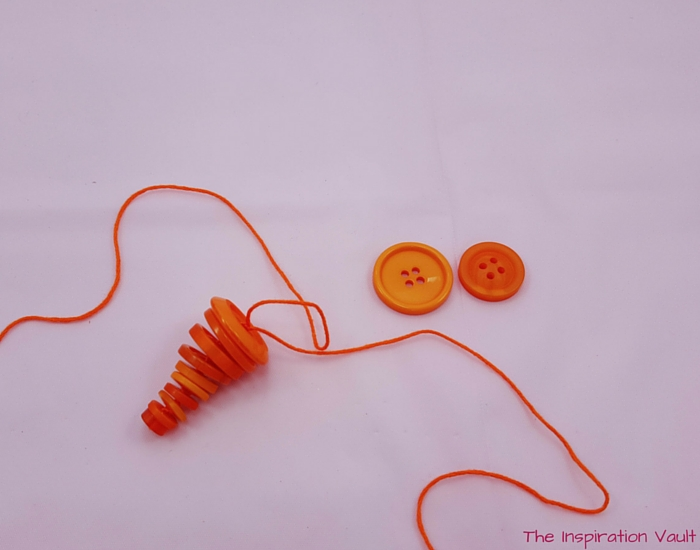 Button Carrot Easter Ornament Step 5