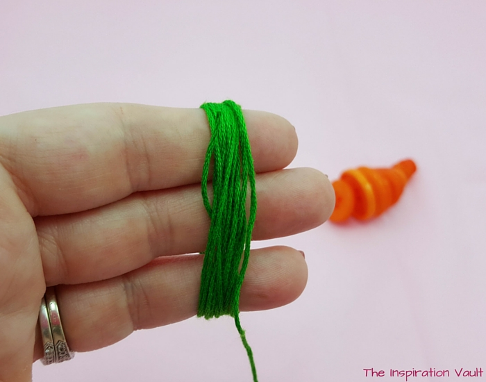 Button Carrot Easter Ornament Step 7