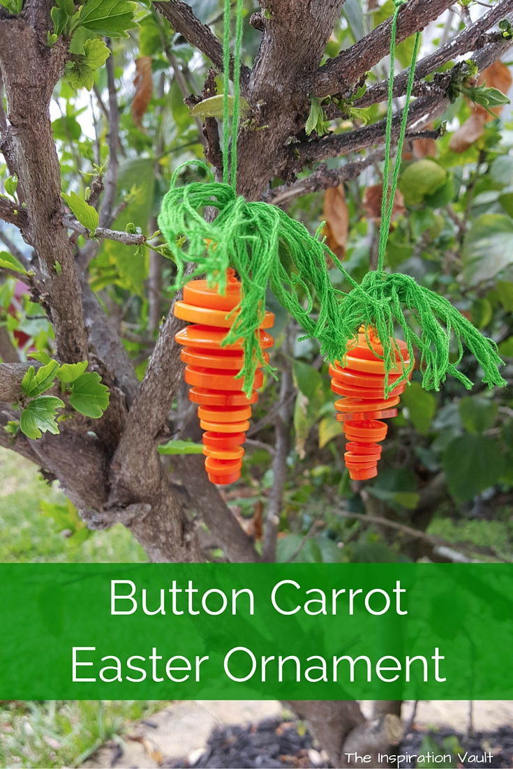 Button Carrot Easter Ornament craft tutorial