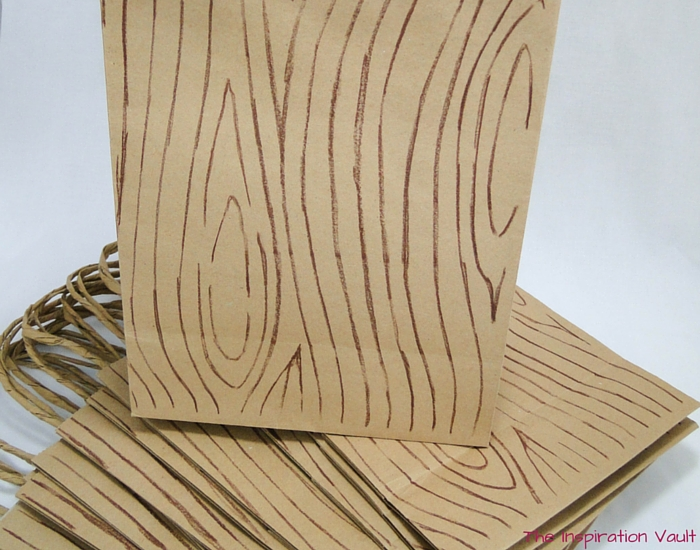 Faux Wood Party Favor Bags Complete