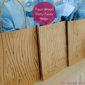 Faux Wood Party Favor Bags Feature