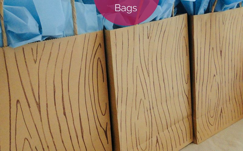 Faux Wood Party Favor Bags Feature