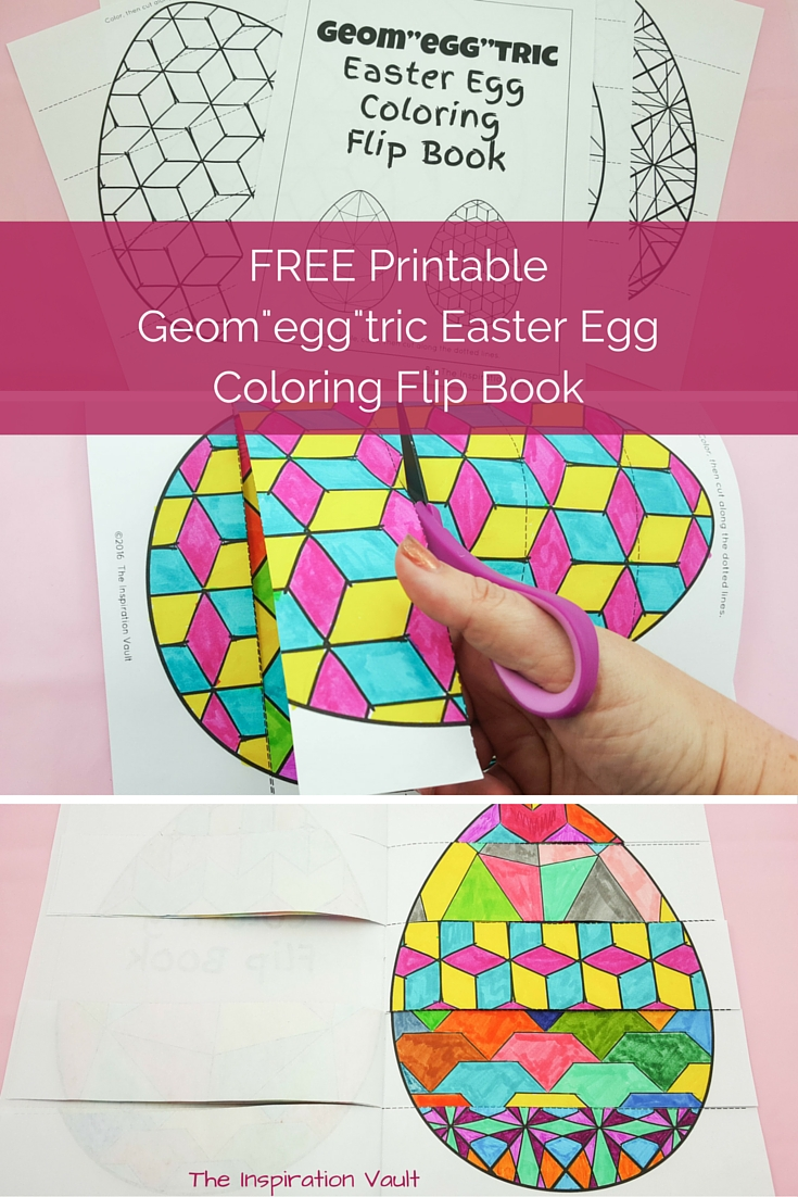 Geomeggtric Easter Egg Coloring Flip Book Free Printable