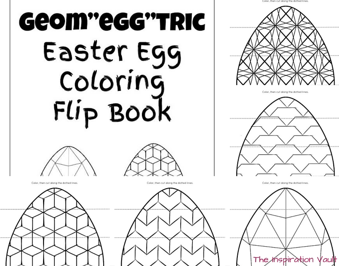 Geomeggtric Easter Egg Coloring Flip Book Printable