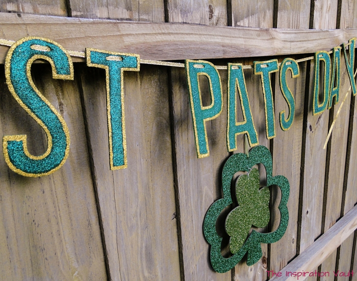 Glittered St Pats Day Banner Close Up