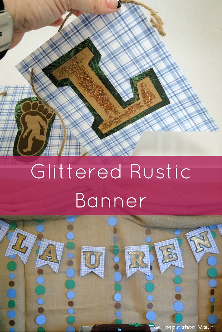 Glittered Rustic Banner Craft Tutorial Bigfoot Outdoors Camping Party Decoration