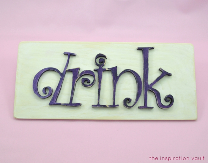 DIY Wood Drink Sign Complete