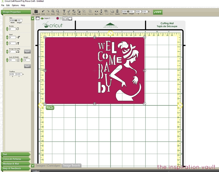 Welcome Baby Cricut Card Step 1a
