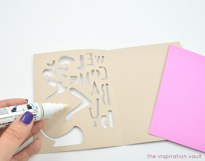 Welcome Baby Cricut Card Step 5a