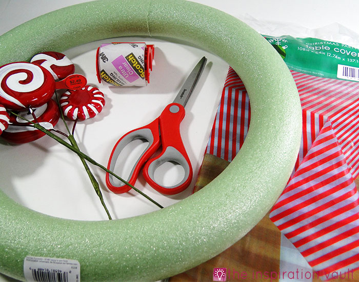 Candy Cane Wreath Materials