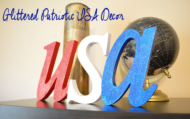 Glittered Patriotic USA Decor Slider