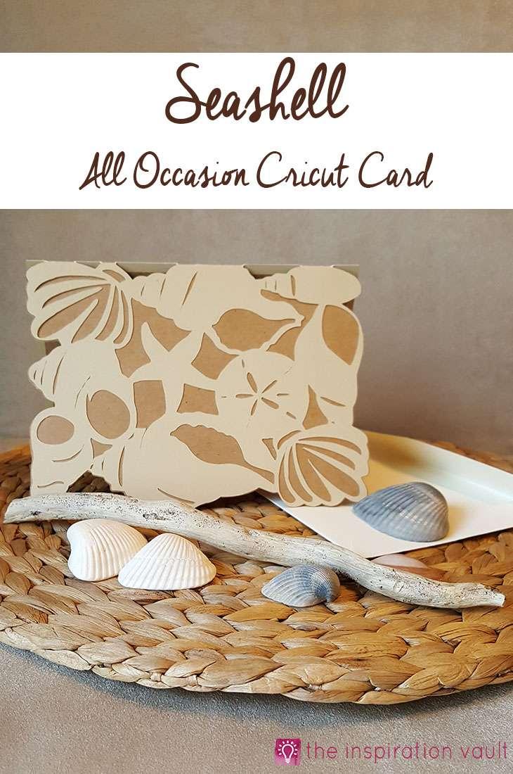 Seashell All Occasion Cricut Card Craft Tutorial Beach Theme Handmade Card