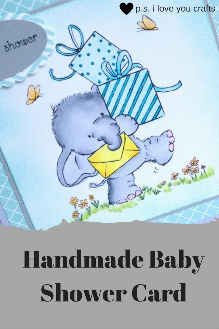 This sweet Handmade Baby Shower Card features Bella the Elephant. The stamp is called Bella with Presents from Wild Rose Studio. She's colored with Copic Markers. The teal and light gray papers make this the perfect card to welcome a new baby boy.
