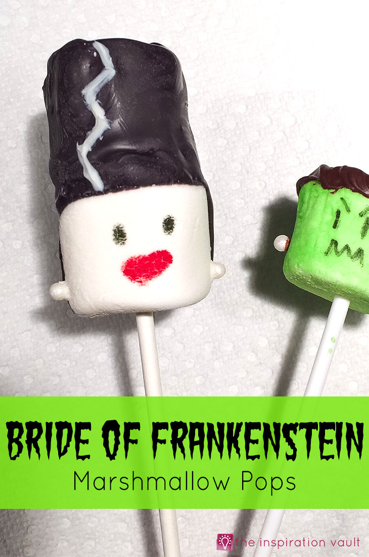 Bride of Frankenstein Marshmallow Pops Halloween Party Food Tutorial