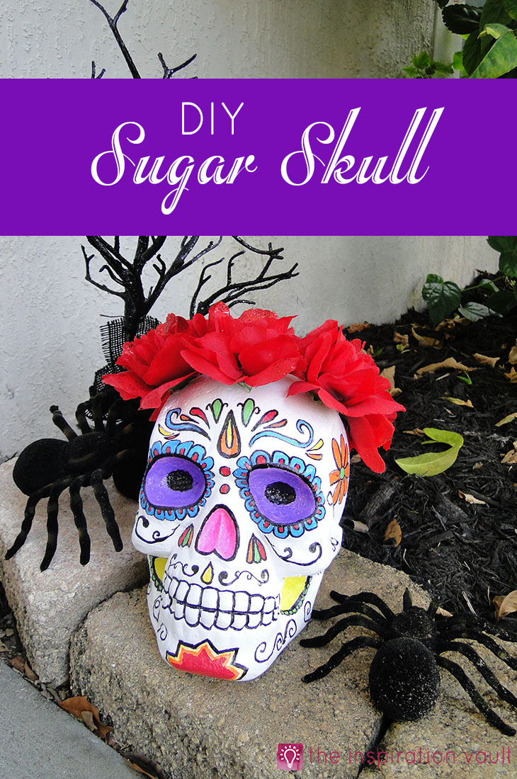 DIY Sugar Skull Halloween Craft Project Day of the Dead #halloweencraft #sugarskull