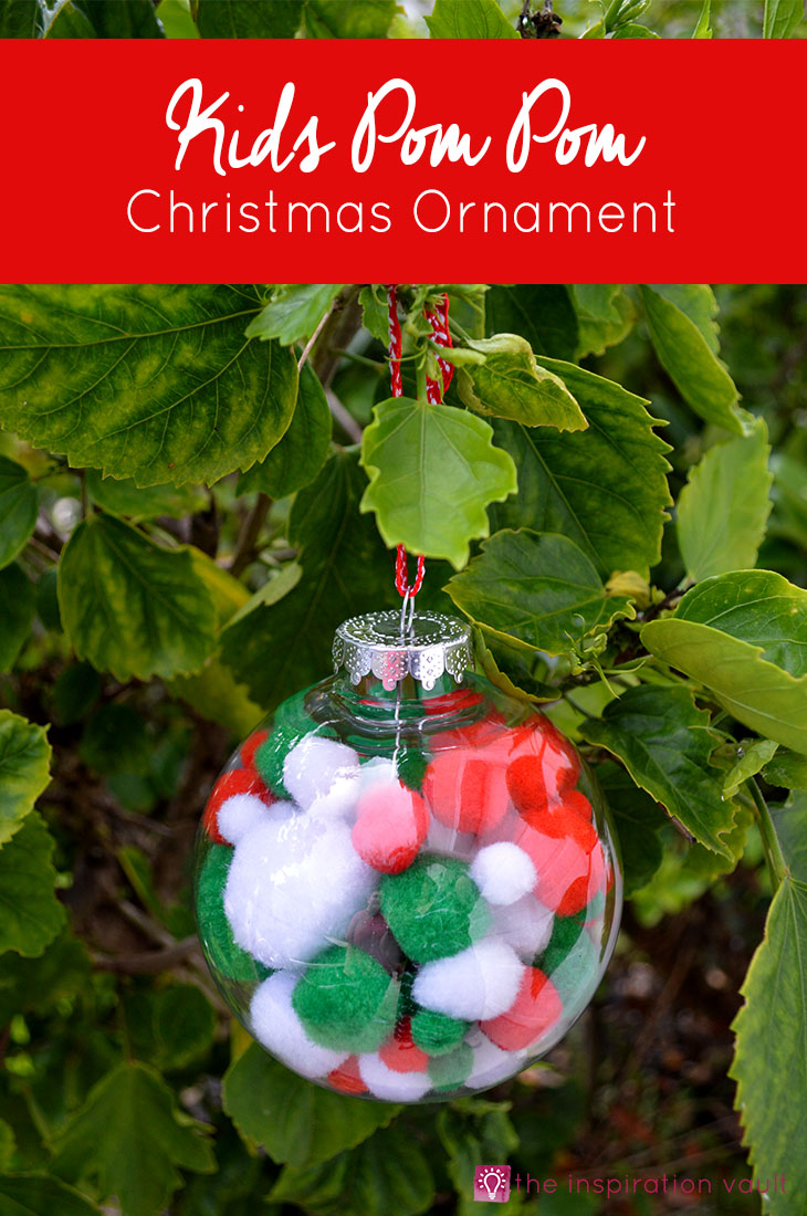 Kids Pom Pom Christmas Ornament #craft tutorial using #dollartree supplies #christmasornament
