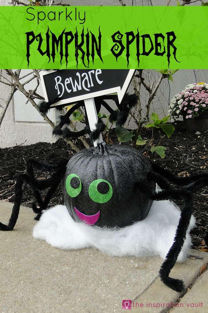 Sparkly Pumpkin Spider Halloween Craft Tutorial #halloweencraft #pumpkindecorating