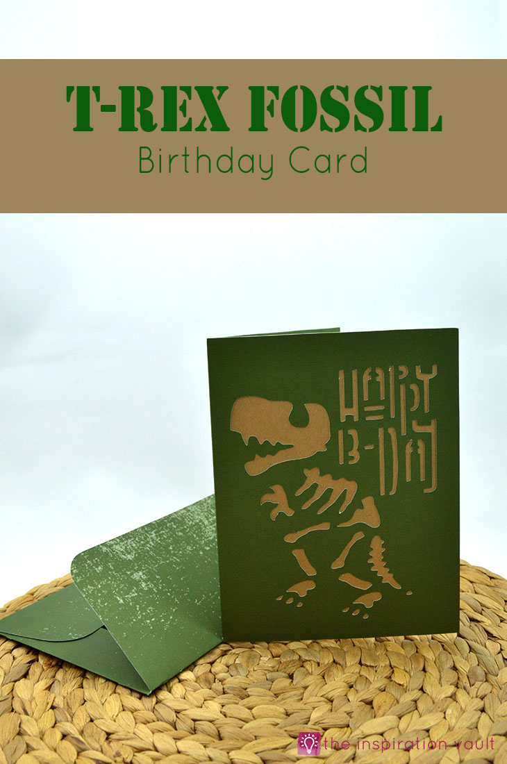Learn to make this T-Rex Fossil Birthday Card on your Cricut with our simple craft tutorial.