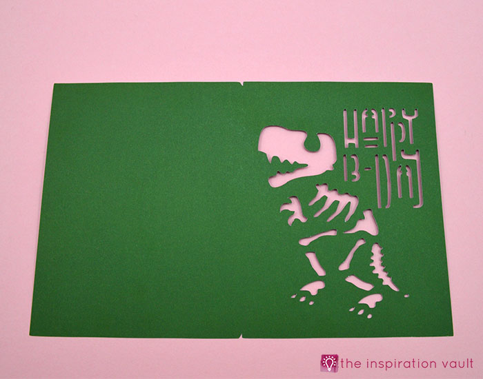 T Rex Fossil Birthday Card Step 2b