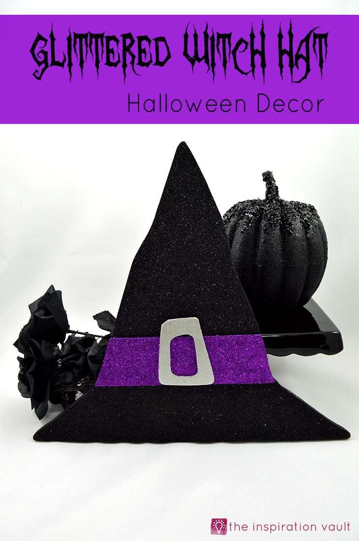 Glittered Witch Hat Halloween Decor Craft Tutorial