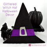 Glittered Witch Hat Halloween Decor