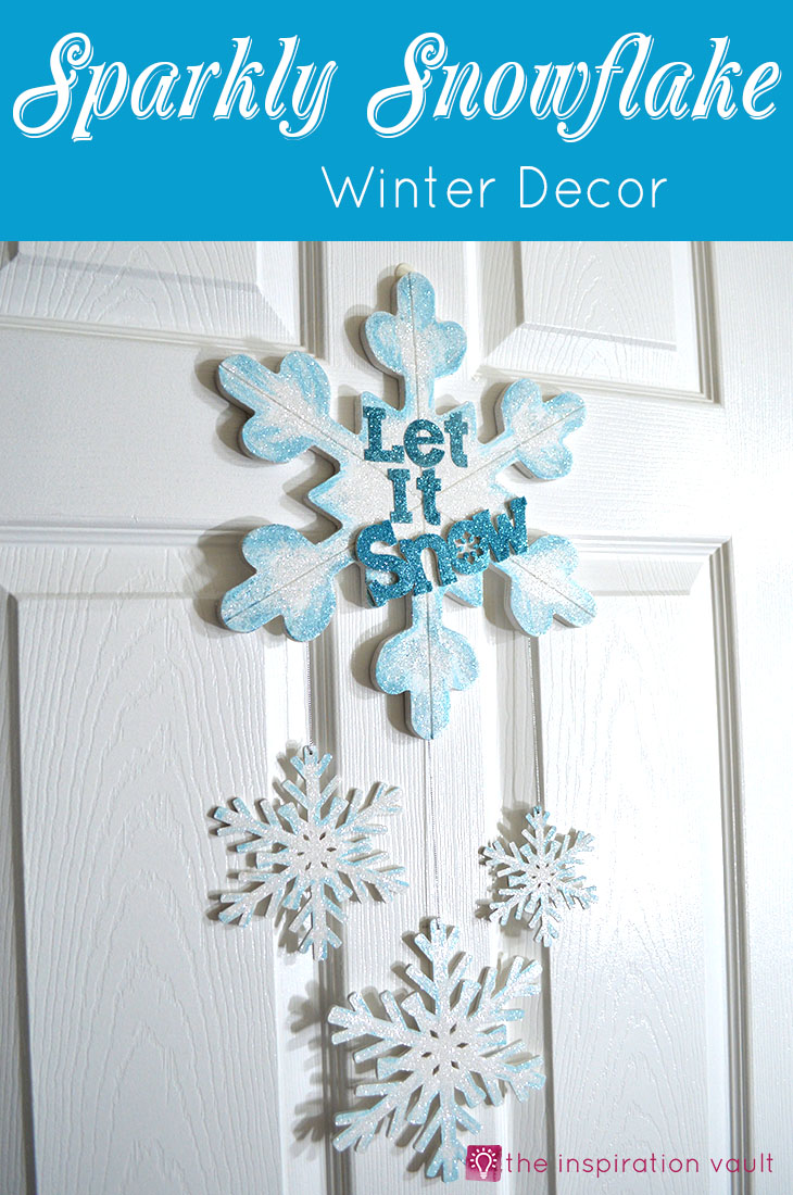 Sparkly Snowflake Decor for Winter Holidays or Christmas Decorations