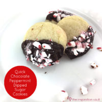 Quick Chocolate Peppermint Dipped Sugar Cookies Feature Image