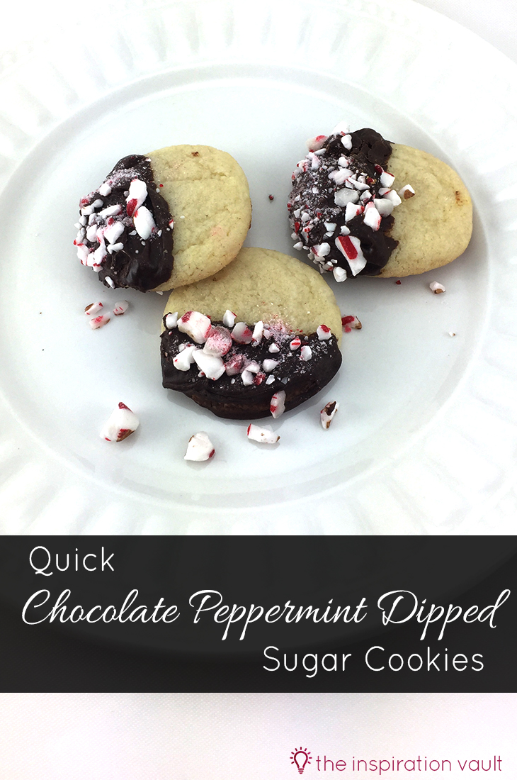 Quick Chocolate Peppermint Dipped Sugar Cookies Recipe