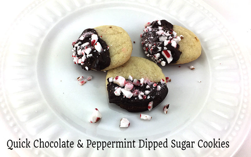 Quick Chocolate Peppermint Dipped Sugar Cookies Slider Image