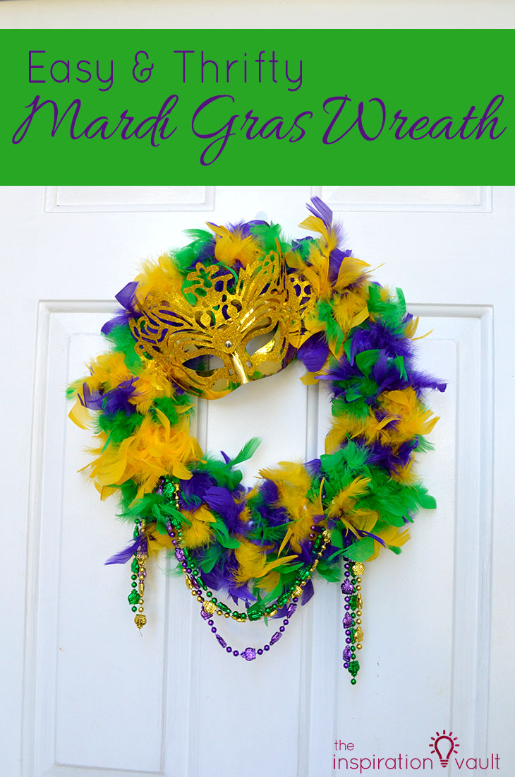 Easy & Thrifty Mardi Gras Wreath Craft Tutorial with Feather Boa & Mask & Beads