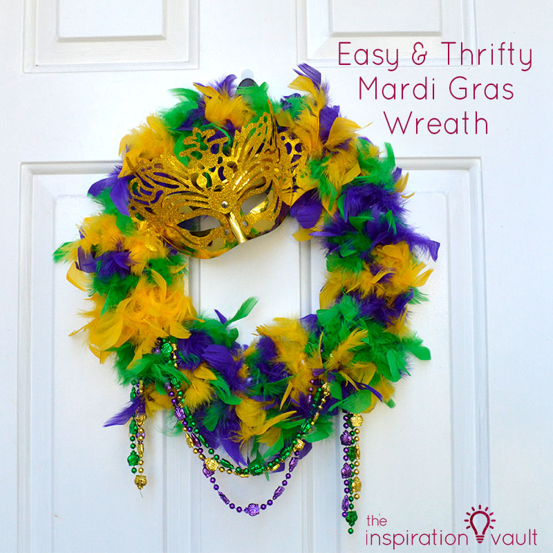 Easy & Thrifty Mardi Gras Wreath Feature