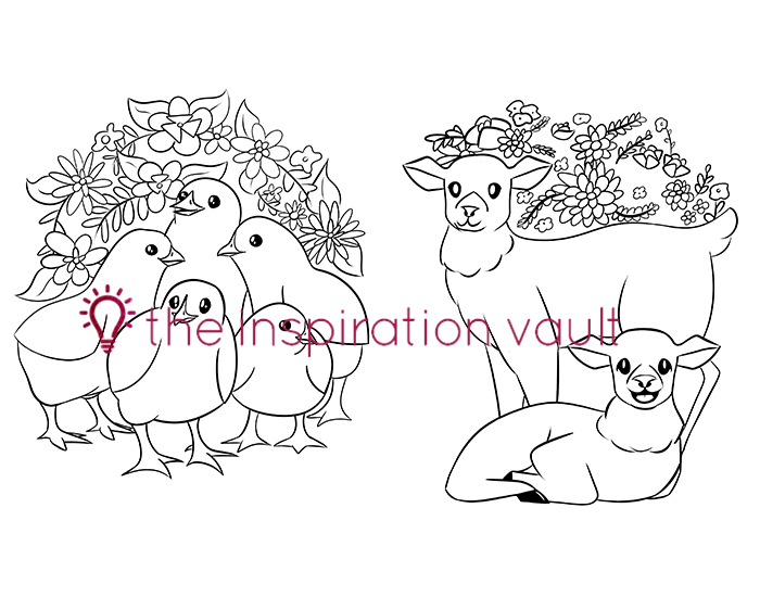Springtime Baby Animals Coloring Pages Chicks and Lambs