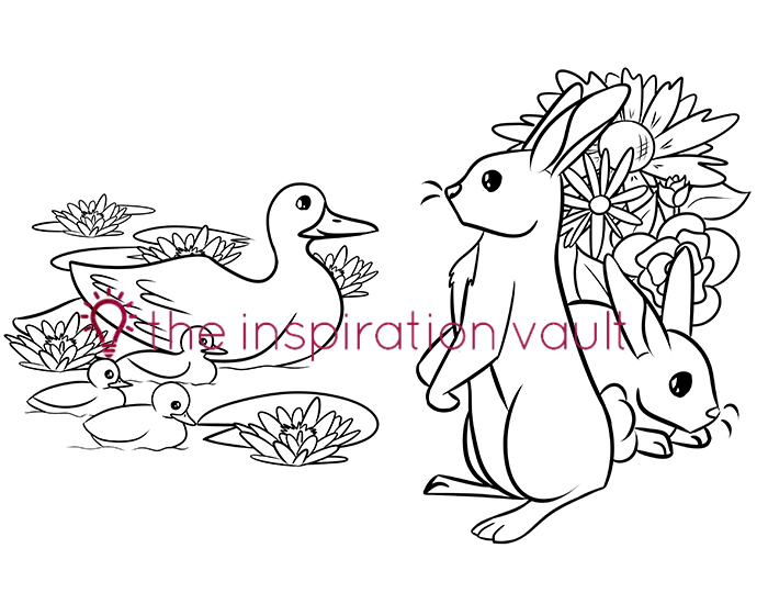 Springtime Baby Animals Coloring Pages Ducklings and Bunnies
