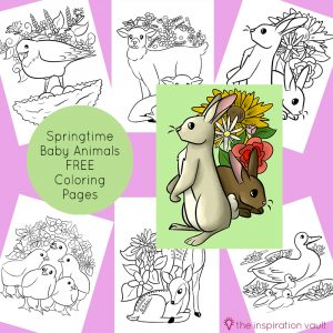 Springtime Baby Animals Coloring Pages Feature