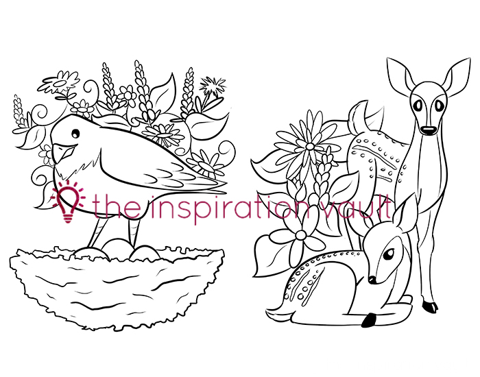 Springtime Baby Animals Coloring Pages Nest and Fawns