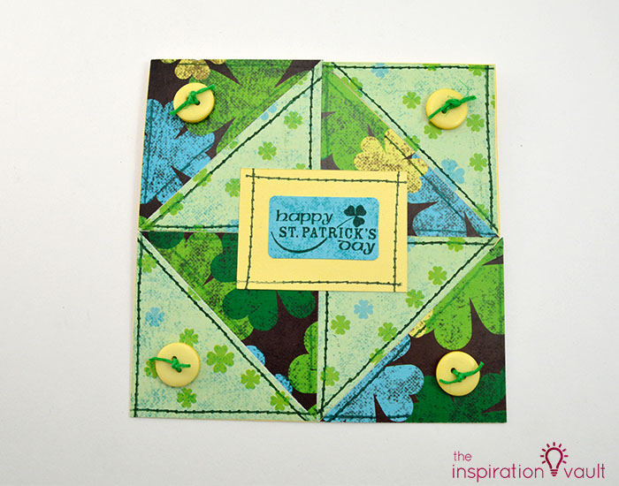 Quilt Block St. Patrick's Day Handmade Card Complete