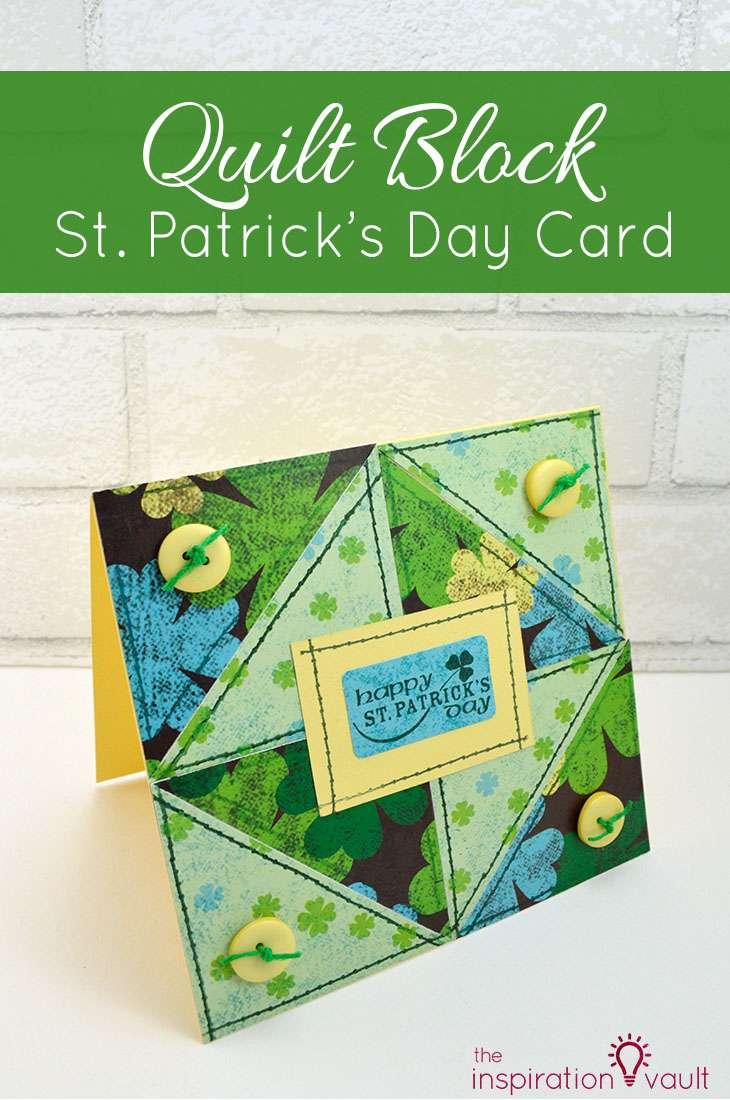 Quilt Block St. Patrick's Day Handmade Card Papercraft Craft Tutorial