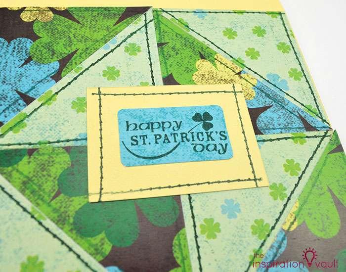 Quilt Block St. Patrick's Day Handmade Card Step 10b