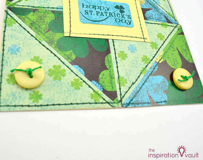 Quilt Block St. Patrick's Day Handmade Card Step 12b