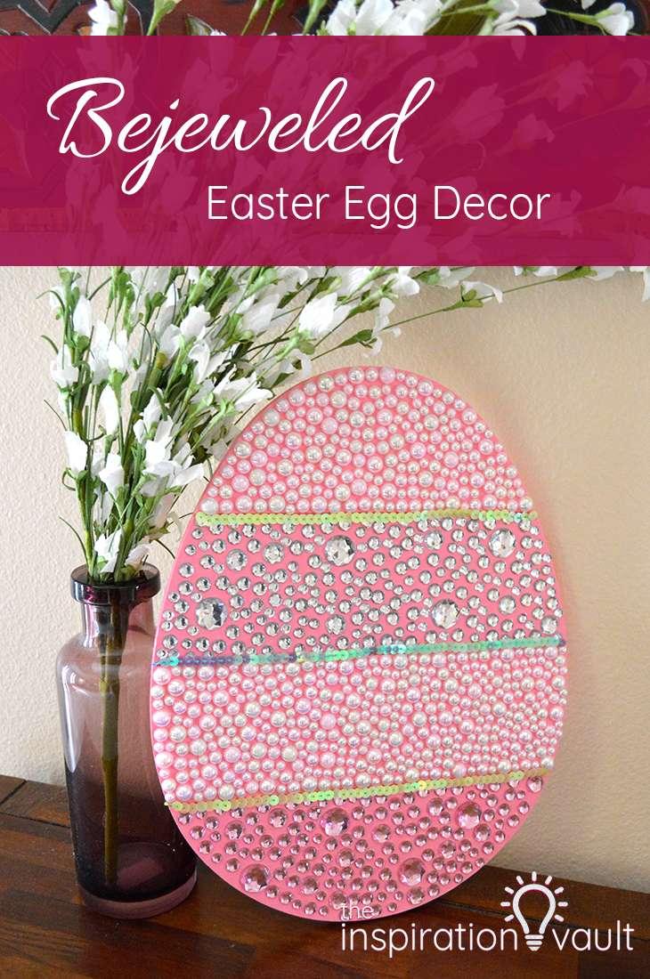Bejeweled Easter Egg Decor Wood Bling Craft Tutorial