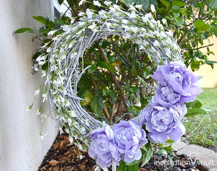 Lavender & White Floral Spring Wreath Complete