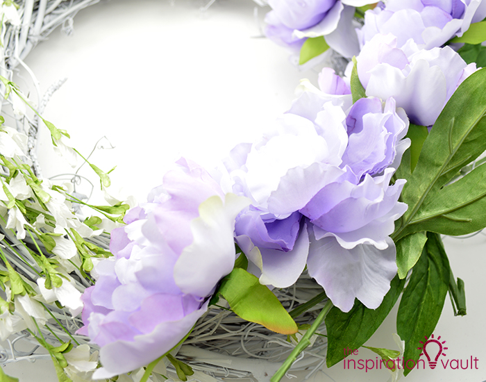 Lavender & White Floral Spring Wreath Step 3b