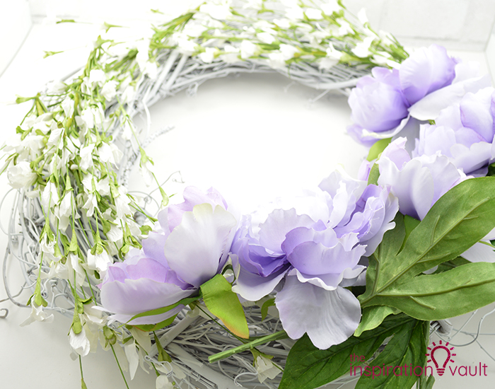 Lavender & White Floral Spring Wreath Step 3c