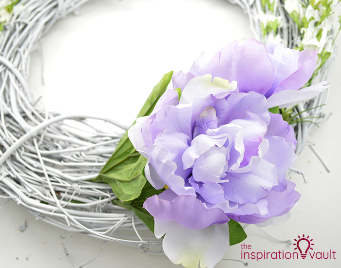 Lavender & White Floral Spring Wreath Step 5a